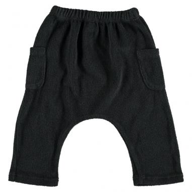 Pantalon sarouel très doux en coton éponge de couleur anthracite adapté pour les bébés et les enfants