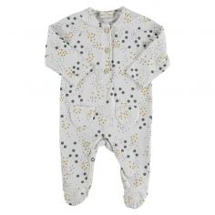 Pyjama avec pieds intégrés en coton bio pour bébés de couleur blanc adapté pour les nuits d'été de la marque Bean's Barcelona