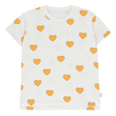 Tee-shirt blanc avec cœurs jaunes pour enfants signé Tinycottons de la collection été 2020