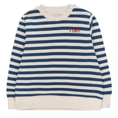 Magnifique sweatshirt à rayures de couleur écrue et marine pour enfants de la marque Tinycottons au meilleur prix