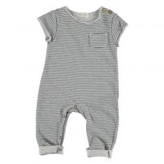 Combinaison en coton organique de couleur blanc et gris clair pour bébés de la marque Bean's Barcelona
