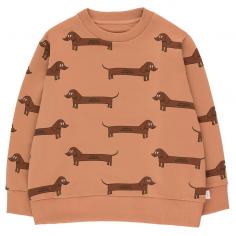 Sweatshirt dans des belles nuances de marron avec imprimé teckel pour bébés et enfants de la marque Tinycottons au meilleur prix