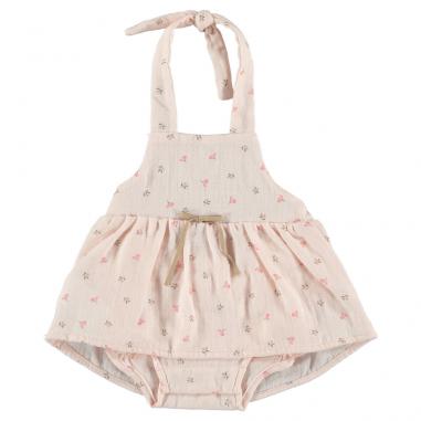Robe de couleur rose poudré avec imprimé fleuris pour bébés de la marque Petit indi au meilleur prix
