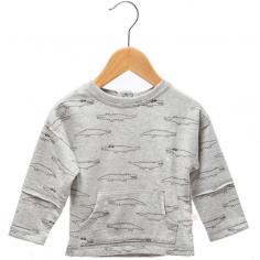 Sweatshirt de couleur gris clair en coton léger pour enfants de la collection été de la marque Les petites choses