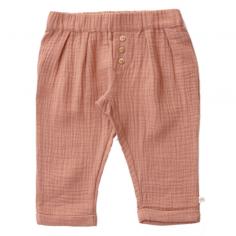 Pantalon de couleur terracotta pour enfants en gaze de coton de la marque Les petites choses