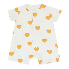 Jolie barboteuse de couleur blanche avec petits cœurs jaune pour bébés de la marque Tinycottons au meilleur prix