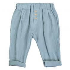Pantalon bleu vert en gaze...