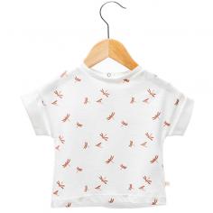 Joli tee-shirt de couleur blanc avec un imprimé à motifs libellules pour enfants de la marque française Les Petites Choses
