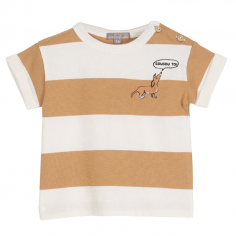 Tee-shirt en coton léger à imprimés rayures de couleur blanche et érable pour enfants de la collection été Emile et Ida