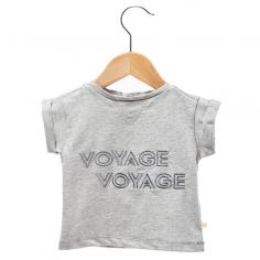 """Petit tee-shirt pour enfants de couleur gris clair """"Voyage voyage"""" de la marque française Les Petites Choses à petit prix"""