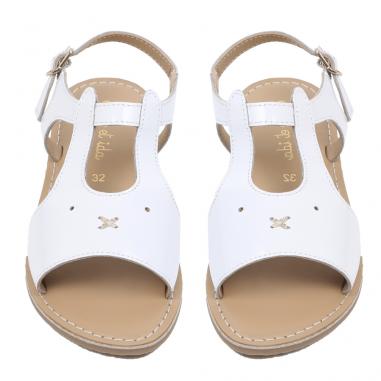 Jolie paire de sandales de couleur blanche unie pour enfants de la marque Emile et ida au meilleur prix