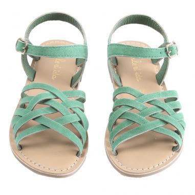 Sandales ouvertes de couleur verte pour petites filles signées Emile et Ida au meilleur prix pour cet été
