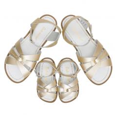 Sandales waterproof de couleur or en cuir enduit pour enfants et femmes de la marque Salt-Water à petit prix