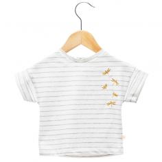 Tee-shirt à rayures de couleur écru pour enfants de la marque française Les Petites Choses à petit prix