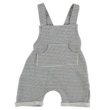 Salopette en coton bio pour bébés à motifs rayures gros clair et écrue de la marque Bean's Barcelona