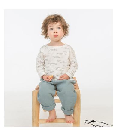 Pantalon bleu vert en gaze de coton pour enfants Les Petits Choses