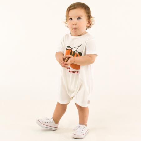 Barboteuse en coton leger de couleur blanche pour bébés signée Tinycottons à petit prix