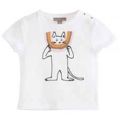 Tee-shirt de couleur blanc avec un joli imprimé représentant un chat pour bébés de la marque Emile et Ida