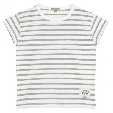 Joli tee-shirt pour enfants de couleur sauge et blanc de la collection été Emile et Ida