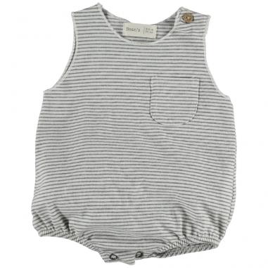 Jolie barboteuse à motif rayures de couleur blanc et gris clair pour bébés de la marque Bean's Barcelona à petit prix