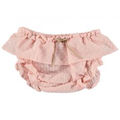 Joli bloomer de couleur rose fabriqué en gaze de coton pour les bébés de la marque Petit Indi
