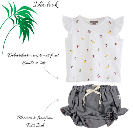 Bloomer en coton léger pour bébés de couleur anthracite signé Petit Indi au meilleur prix