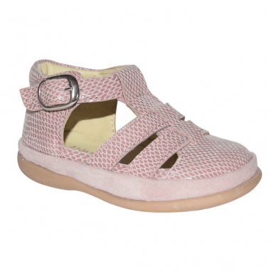 Sandales pré-marche de couleur rose adaptées pour les enfants de la marque Little Mary