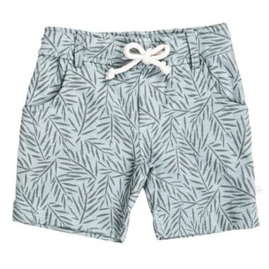 Sublime petit short de couleur bleu vert à motifs palmiers pour enfants de la marque Les Petites Choses à prix tout doux