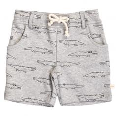 Magnifique short pour enfants de couleur gris clair à motifs crocodiles de la marque Les Petites Choses pour cet été