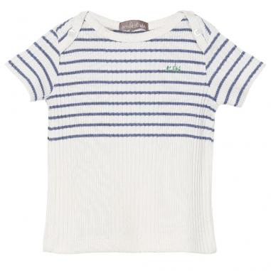 Tee-shirt blanc avec un motif à rayures de couleur bleu pour bébés de la marque Emile et Ida au meilleur prix