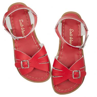 Magnifique paire de sandales de couleur rouge pour enfants de la marque Salt-water à petit prix