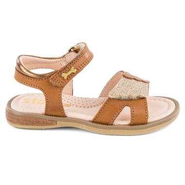 Jolies sandales de couleur camel pour petites filles de la marque Stones and Bones à Toulouse