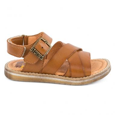 Sandales de couleur camel unie pour petits garçons de la marque Stones and Bones