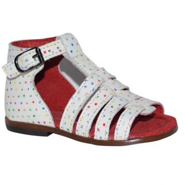 Sandales de couleur blanche avec pois multicolores pour enfants de la marque française Little Mary
