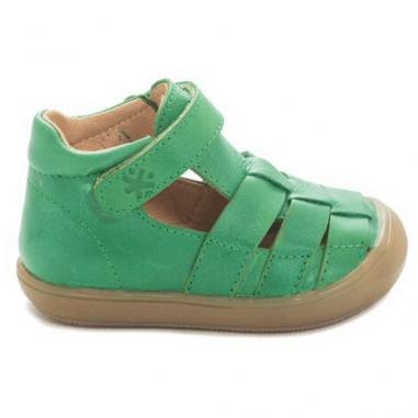 Sandales de couleur verte adaptées pour les premiers pas des enfants de la marque Acebos