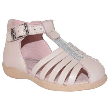 Sandales de couleur rose et argenté pour les premiers pas des enfants de la marque Little Mary