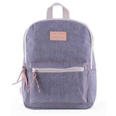 Magnifique sac à dos à rayures bleu pour enfants de la collab jojo factory et le petit germain