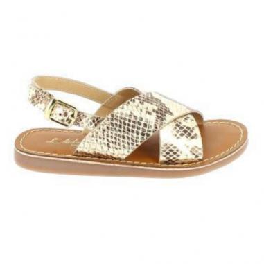 Sandales de couleur or à effet python pour enfants et pour femmes de la marque l'Atelier Tropézien au meilleur prix