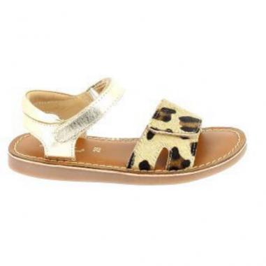 Très belle paire de sandales de couleur or et léopard pour enfants de la collection été L'atelier Tropézien