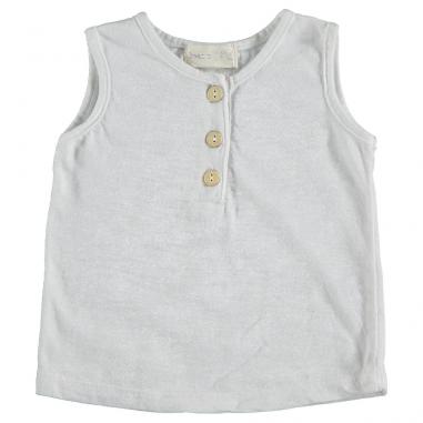 Débardeur en coton organique de couleur blanc pour enfants au meilleur prix