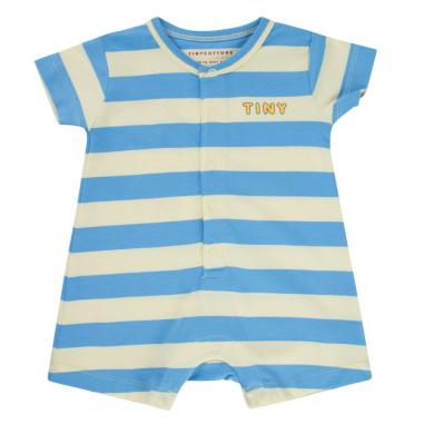 Magnifique barboteuse pour bébés à imprimés rayures bleu ciel de la marque Tinycottons