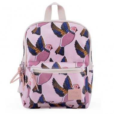 Sac à dos pour enfants de couleur rose avec un imprimés oiseaux de la marque Jojo Factory