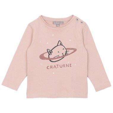 Tee-shirt chaturne de couleur rose pour bébés de la marque Emile et Ida