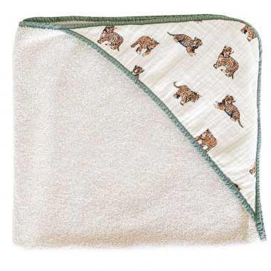 Cape de bain tigre sauge pour bébés de la marque Milinane