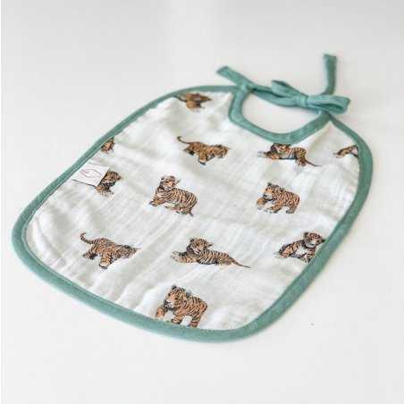 Bavoir réversible tigre sauge pour bébés de la marque Milinane