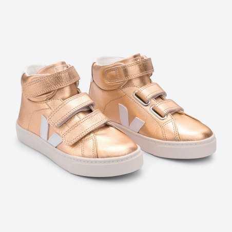 Sneakers montantes rose gold pour enfants de la marque Veja