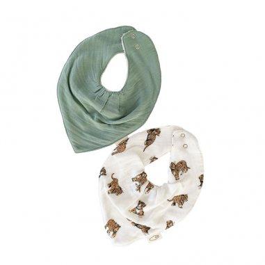 Duo de bavoirs bandana tigre pour bébés de la marque Milinane