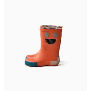 Bottes de pluie wistiti star orangées pour enfants de la marque Boxbo