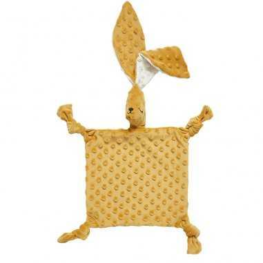 Doudou sensoriel grand lapin moutarde pour bébés de la marque Elva Senses