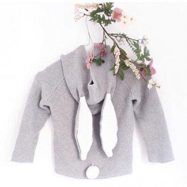 Sweat lapin pour enfants de la marque Mama Siesta gris clair
